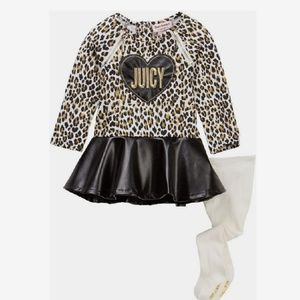 Juicy couture animal print leather bottom dress